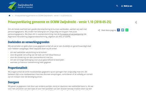 Screenshot of Privacy Page zwijndrecht.be - Privacyverklaring gemeente en OCMW Zwijndrecht - versie 1.10 (2018-05-25) - Gemeente Zwijndrecht - captured Sept. 27, 2018