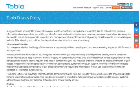 Screenshot of Privacy Page tablotv.com - Tablo Privacy Policy | Over The Air (OTA) DVR | Tablo - captured Sept. 24, 2018