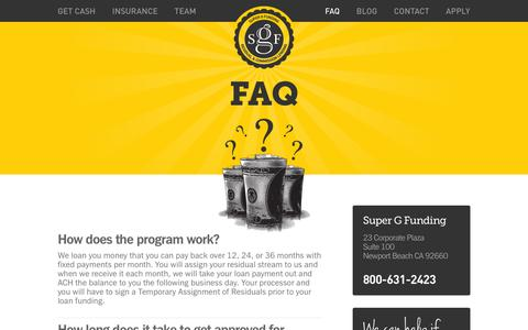 Screenshot of FAQ Page supergfunding.com - Super G Funding | Frequently Asked Questions - captured Oct. 7, 2014