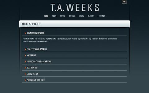 Screenshot of Services Page taweeks.com - T.A. Weeks - captured Oct. 5, 2014