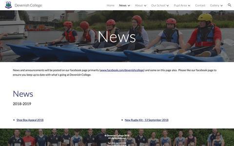 Screenshot of Press Page google.com - Devenish College - News - captured Oct. 30, 2018