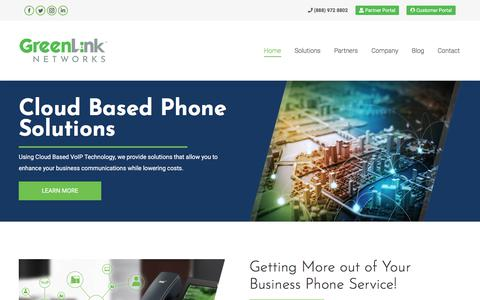 Screenshot of Home Page greenlinknetworks.com - GreenLink Networks - Business VOIP | Cloud Phone System | SIP Trunking - captured July 13, 2018