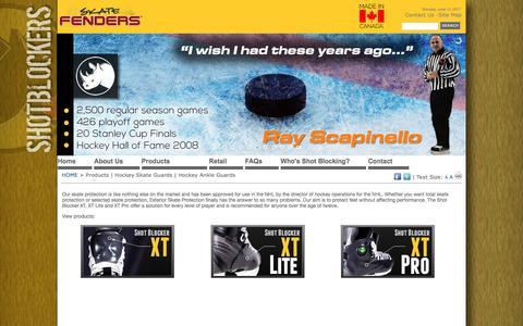 Screenshot of Products Page shotblockers.com - Products   Hockey Skate Guards   Hockey Ankle Guards - captured June 13, 2017