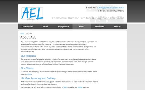 Screenshot of About Page aelsolutions.com - About AEL, AEL Outdoor Solutions, AEL Outdoor Furniture   AEL Commercial Outdoor Furniture and Playground Equipment - captured Oct. 3, 2014