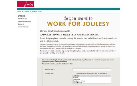 Screenshot of Jobs Page joules.com - Joules: Work for Joules - captured Sept. 16, 2014