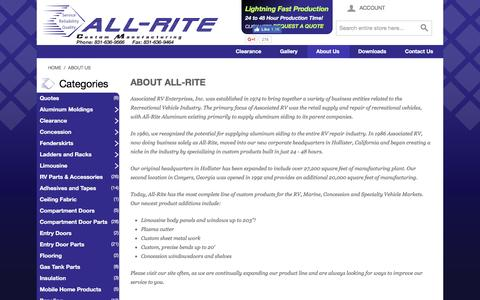 Screenshot of About Page all-rite.com - About Us  Recreational Vehicle Products and Accessories - All-Rite - captured Sept. 24, 2016