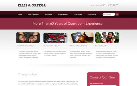 Screenshot of Privacy Page theortegalawgroup.com - Privacy Policy | Ellis & Ortega | El Paso, Texas - captured Oct. 2, 2014