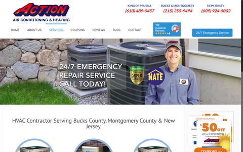 Screenshot of Services Page actionheatandair.com - Services | Action Air Conditioning & Heating - captured Oct. 31, 2018
