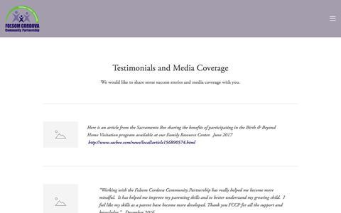 Screenshot of Testimonials Page thefccp.org - Testimonials — Folsom Cordova Community Partnership - captured Oct. 19, 2017
