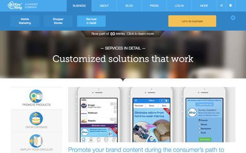 Screenshot of Services Page keyringapp.com - Services | Key Ring - captured Sept. 16, 2014