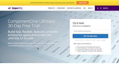 Screenshot of Trial Page grapecity.com - Download ComponentOne Ultimate - captured Dec. 29, 2017
