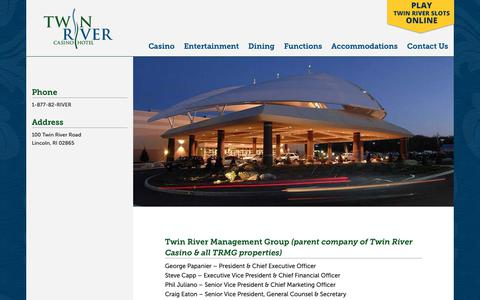 Screenshot of Team Page twinriver.com - Management - Twin River Casino Hotel - captured May 31, 2019