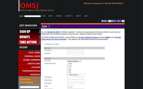 Screenshot of Signup Page omsj.org captured Oct. 27, 2014