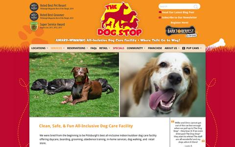 Screenshot of Home Page thedogstop.net - The Dog Stop | Clean, Safe, & Fun All-Inclusive Dog Care Facility - captured Oct. 7, 2014