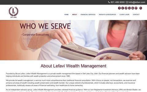Screenshot of About Page lefavi.com - About Lefavi Wealth Management - captured Jan. 28, 2016