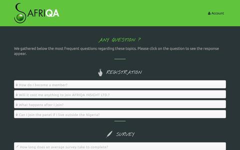 Screenshot of FAQ Page afriq-a.com - FAQ - captured Nov. 2, 2014