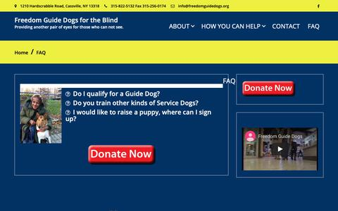 Screenshot of FAQ Page freedomguidedogs.org - FAQ – Freedom Guide Dogs for the Blind - captured Oct. 30, 2018