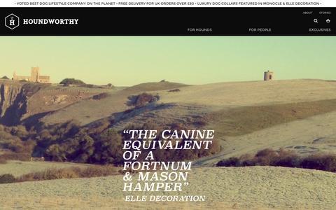 Screenshot of Home Page houndworthy.com - HOUNDWORTHY Ľ Purveyor of Quality Dog Goods - captured Dec. 6, 2015