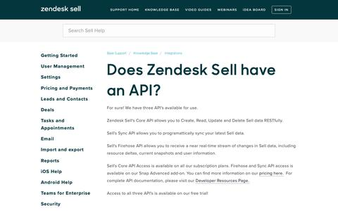 Screenshot of Support Page getbase.com - Does Zendesk Sell have an API? – Base Support - captured Nov. 15, 2018