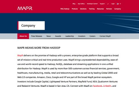 Screenshot of About Page mapr.com - About Us | MapR - captured Oct. 27, 2014