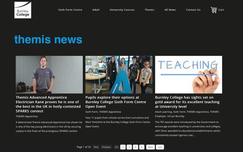 Screenshot of Press Page burnley.ac.uk - www.burnley.ac.uk > Themis at Burnley College > Themis News - captured Oct. 18, 2018