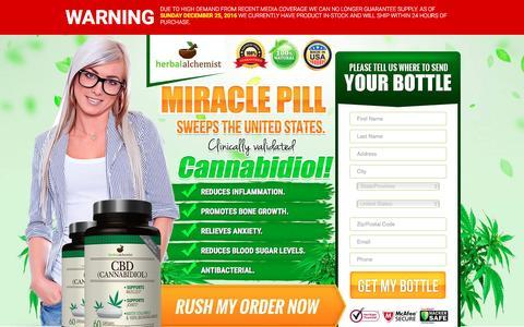 Screenshot of Trial Page cbd-now.com - Herbal Alchemist - captured Dec. 25, 2016