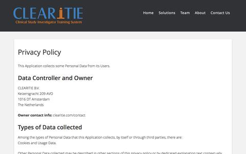 Screenshot of Privacy Page clearitie.com - Privacy Policy – CLEARiTIE - captured May 12, 2017