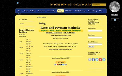 Screenshot of Pricing Page sunstarastrology.com - Pricing | Michael O'Connor's Sunstar Astrology - captured Jan. 31, 2018