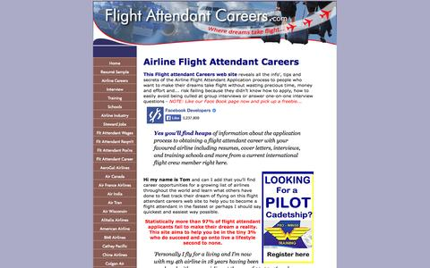 Screenshot of Home Page flight-attendant-careers.com - Flight Attendant Careers to Jump Start Your Dream - captured Sept. 19, 2014
