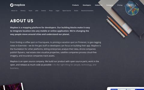Screenshot of About Page mapbox.com - About | Mapbox - captured July 12, 2017