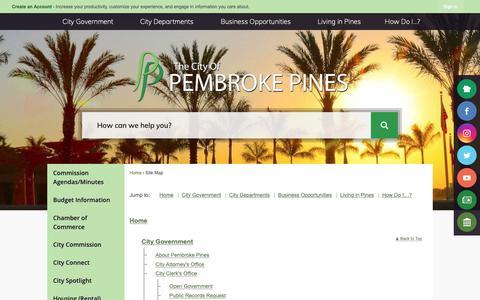 Screenshot of Site Map Page ppines.com - Pembroke Pines, FL - Official Website - captured Sept. 28, 2018