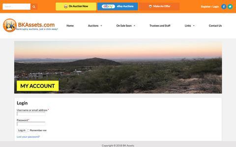 Screenshot of Login Page bkassets.com - My Account – BK Assets - captured Oct. 4, 2018