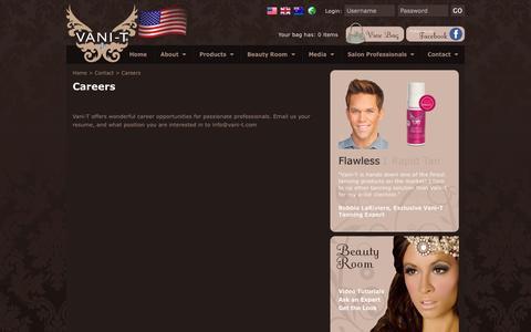 Screenshot of Jobs Page vani-t.com - Careers - captured Oct. 7, 2014