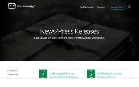 Screenshot of Press Page workamajig.com - Workamajig News & Press - captured June 6, 2018