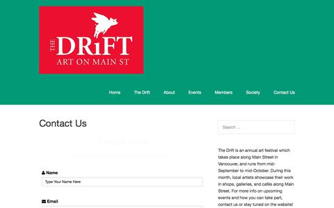 Screenshot of Contact Page thedrift.ca - Contact Us – The Drift - captured Oct. 22, 2017