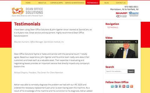 Screenshot of Testimonials Page deanofficesolutions.com - Testimonials - captured Sept. 30, 2014