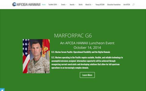 Screenshot of Home Page afcea-hawaii.org - AFCEA Hawaii | Partnering Industry Leaders with Military Leaders in the Pacific Area - captured Sept. 30, 2014