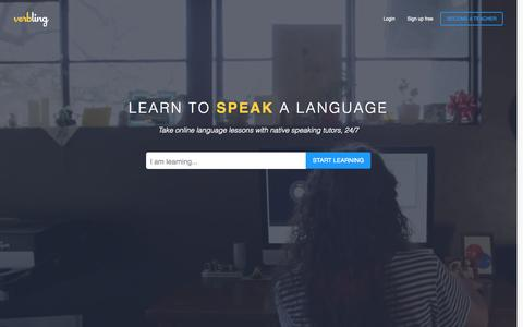 Screenshot of Home Page verbling.com - Verbling: Online language classes and private tutoring - captured July 15, 2015