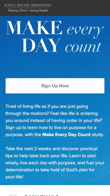 Screenshot of Landing Page  joycemeyer.org - Make Every Day Count Study with Joyce Meyer