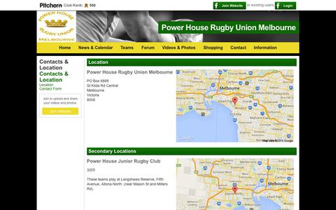 Screenshot of Locations Page powerhouserugby.com.au - Location - Power House Rugby Union Melbourne - captured Oct. 2, 2014