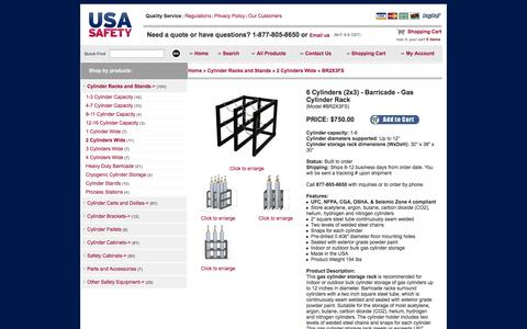 Screenshot of Landing Page usasafety.com - Gas Cylinder Rack,  Barricade, 6 Tanks (2x3), BR2X3FS - USASafety.com - captured Oct. 27, 2014
