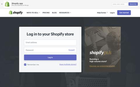 Screenshot of Login Page shopify.com - Login — Shopify - captured March 22, 2018