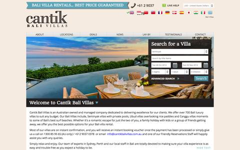 Screenshot of Home Page Locations Page cantikbalivillas.com - Bali Villas, Seminyak Villas, - captured Sept. 25, 2014