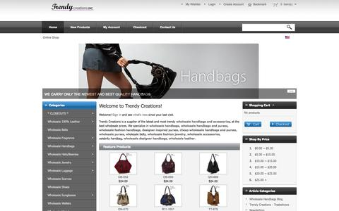 Screenshot of Home Page trendycreations.net - Wholesale Handbags and Accessories, Wholesale Handbags, Wholesale Handbags and Purses - Trendy Creations - captured Oct. 7, 2014