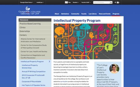 Screenshot of Home Page gsu.edu - Georgia State Law Intellectual Property, IP Program - captured Sept. 24, 2015