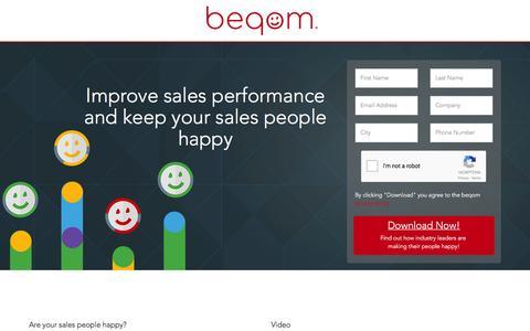 Screenshot of Landing Page beqom.com - beqom - Sales Performance Management - captured March 2, 2016