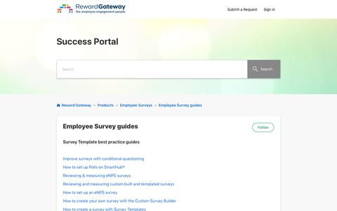 Screenshot of Support Page zendesk.com - Employee Survey guides – Reward Gateway - captured July 25, 2019