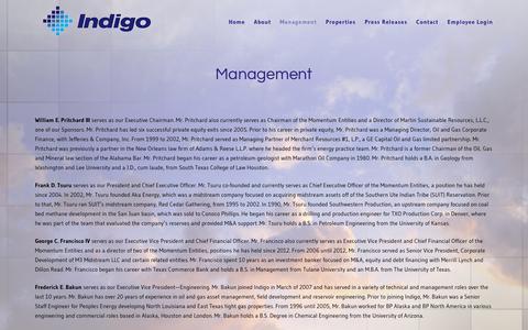 Screenshot of Team Page ndgo.com - Management | Indigo - captured Oct. 15, 2017