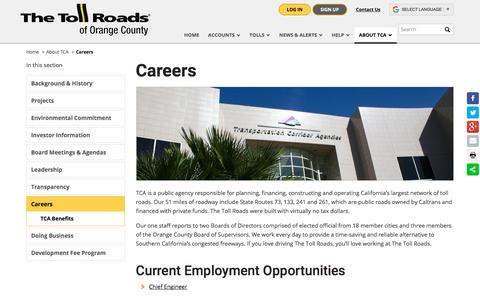 Screenshot of Jobs Page thetollroads.com - Careers | The Toll Roads - captured Sept. 22, 2018