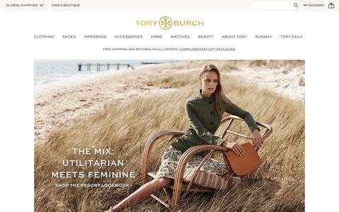 Screenshot of Home Page toryburch.co.uk - Tory Burch | Women's Clothing, Dresses, Shoes, Handbags & Accessories - captured Feb. 5, 2016